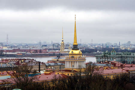 view from St. Isaacs Cathedral to the Admiralty, Peter and Paul fortress and the Hermitage 2 Stock fotó