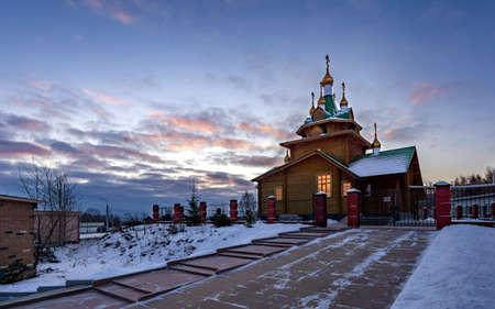 Church of the Holy Martyr Arkady of Yekaterinburg against the background of dawn clouds 5