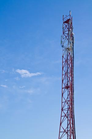 radio tower on background of blue sky Stock Photo