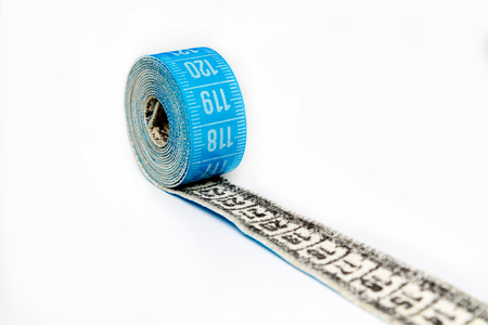 measure tape closeup on white background Stock Photo