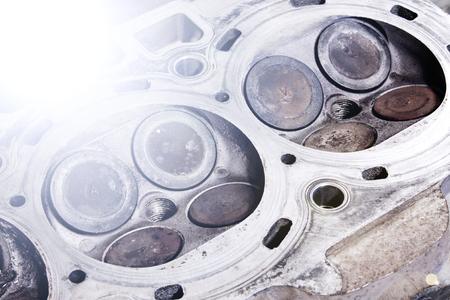 Valves on the engine valve box closeup Stock Photo