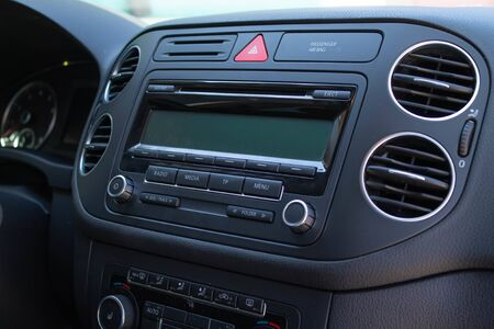 automotive interior, dashboard with conditioning system Imagens