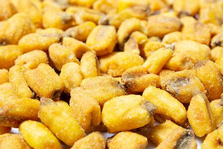 Roasted corn nuts texture close up