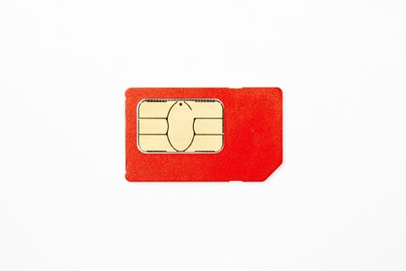 Sim card on white background close up