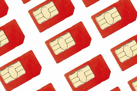 Sim cards on white background close up