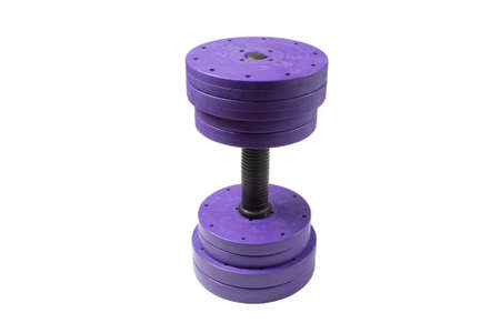 Dumbbell close-up on a white background