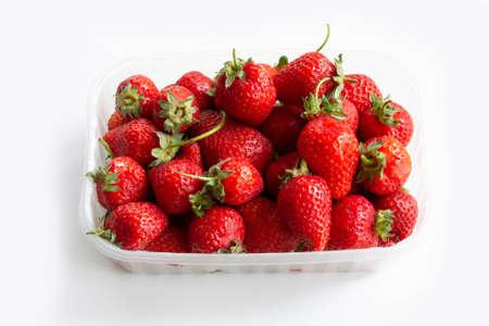 Box of strawberry on white background