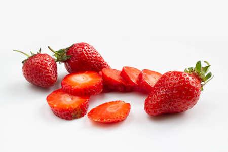 Sliced strawberries on white background 版權商用圖片