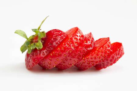 Sliced strawberry on white background 版權商用圖片