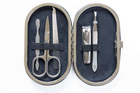 Manicure tools in a case on white background 版權商用圖片