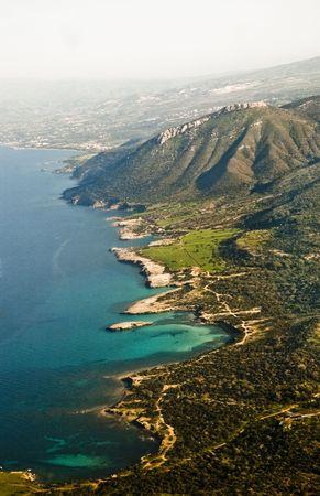 vertica: Aerial view of coastline, Cyprus