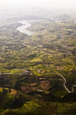 Aerial view of farm fields, Cyprus Stock Photo - 7817907