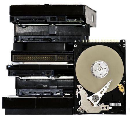 Many Open Hard drives isolated on white background. Stock Photo - 7818147