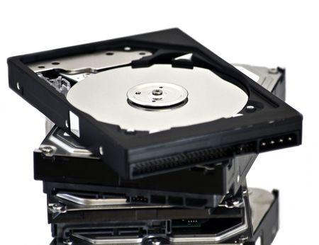 opened hard disk drive  isolated on white background photo