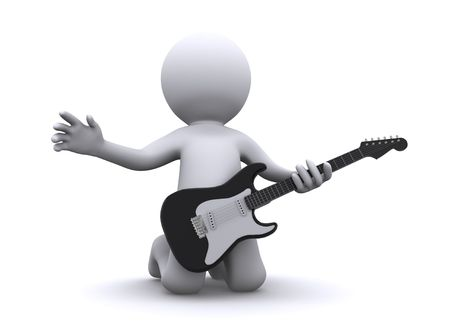 guitar amplifier: isolated 3d guitarist Stock Photo