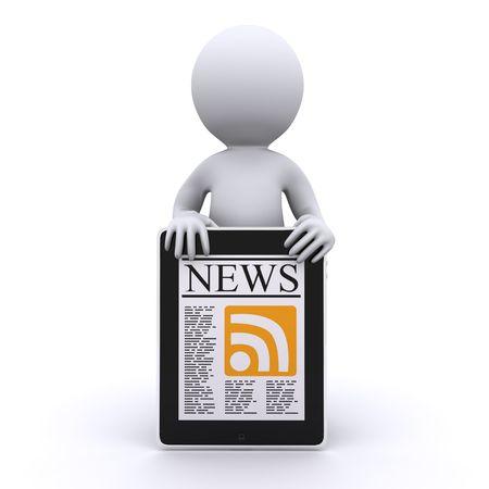 humanos 3D leen sus noticias en l�nea