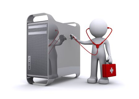the medic: doctor examining a pc Stock Photo