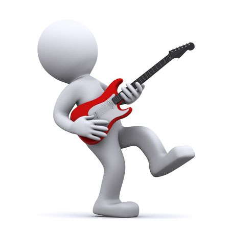 amplify: isolated 3d guitarist Stock Photo