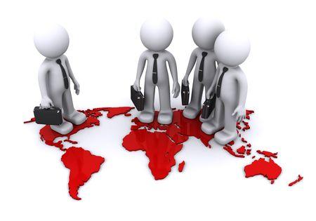 three businesmen standding on world map