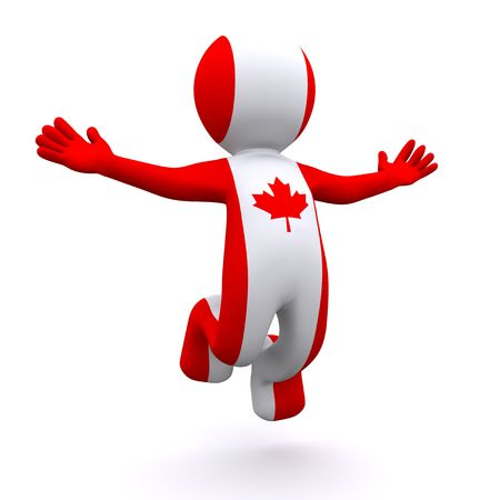three dimensions: 3d character textured with the flag of Canada isolated on white background