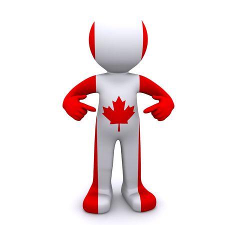 personaje 3D con textura con la bandera canadiense aislada sobre fondo blanco
