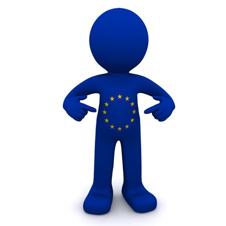european community: 3d character textured with flag of European Union isolated on white background