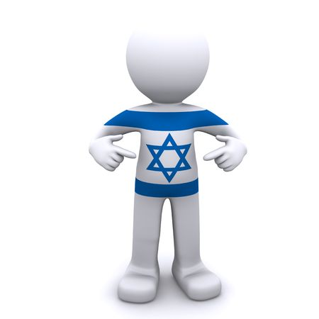 and israel: 3d character textured with flag of Israel isolated on white background