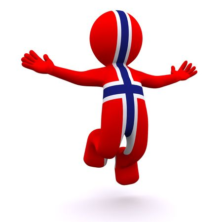 3d character textured with the flag of Norway isolated on white background photo