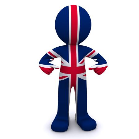 british man: 3d character textured with flag of United Kingdom isolated on white background
