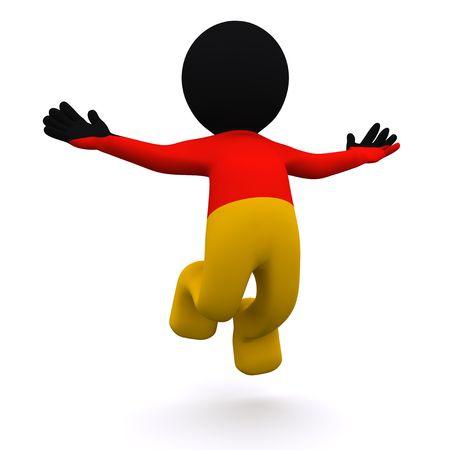 personaje 3D con textura con bandera de Alemania aislado sobre fondo blanco  Foto de archivo
