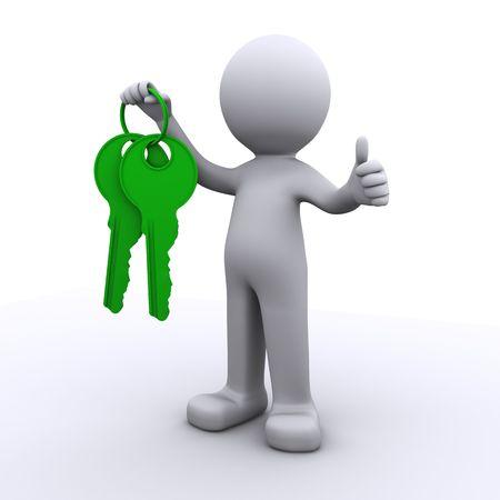thumb keys: humanos 3D con clave y taquillas en manos aisladas sobre fondo blanco