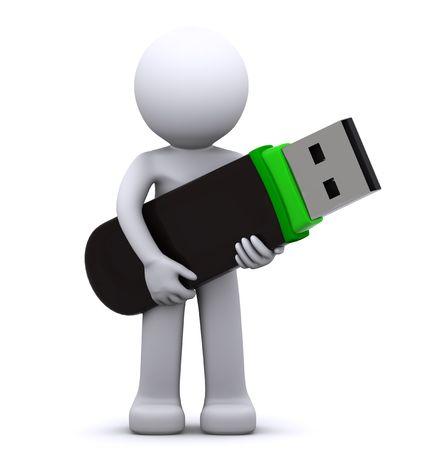 programm: personaggio 3D con usb flash drive isolata on white