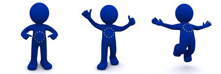 body dimensions: 3d character textured with flag of European Union isolated on white background