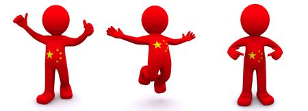 ethnical: 3d character textured with flag of China isolated on white background Stock Photo