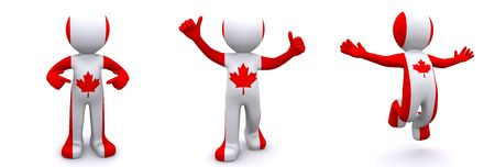 3d character textured with flag of Canada isolated on white background photo
