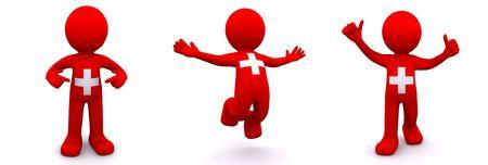 la union hace la fuerza: personaje 3D con textura con la bandera de Suiza aislado sobre fondo blanco  Foto de archivo