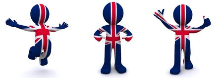 british man: 3d character textured with flag of UK isolated on white background Stock Photo