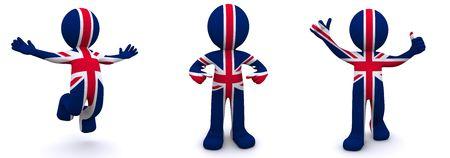 personaje 3D con textura con la bandera del Reino Unido aislado sobre fondo blanco  Foto de archivo