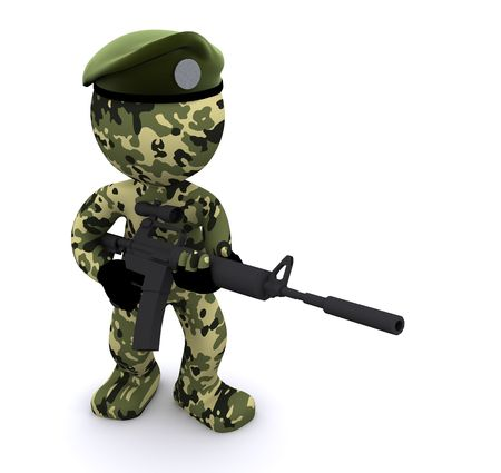 green beret: 3d soldier isolated on white background