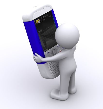 3d character writing message on his mobile. Isolated photo