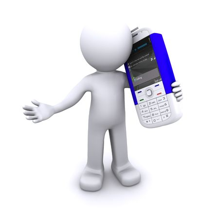 Calling 3d character. Isloated Stock Photo - 8267873