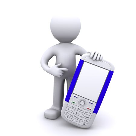 3d character with mobile phone, Isolated photo