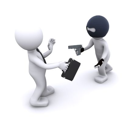 robbery: 3d character robbing a businessman. Isolated Stock Photo
