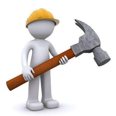 3D-bouwvakker met hamer. Geïsoleerd Stockfoto
