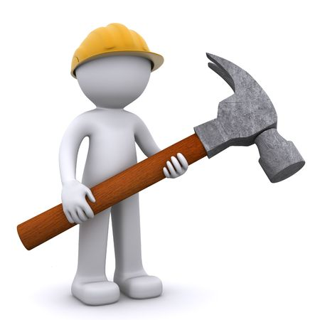 3D construction worker with hammer. Isolated Stock Photo