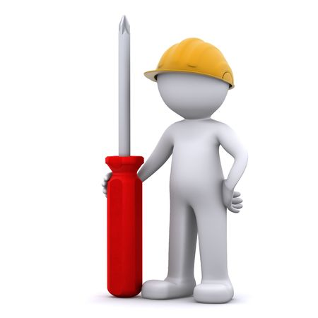 3D construction worker with screwdriver. Isolated Stock Photo - 8267865