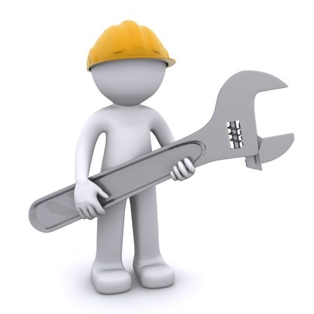 spanners: 3D construction worker with adjustable wrench. Isolated