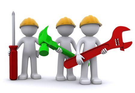 Equipo de trabajador de la construcci�n con el equipo. Aislado  Foto de archivo