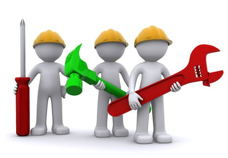 Team of construction worker with equipment. Isolated Stock Photo - 8267876