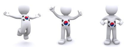 3d character textured with flag of South Korea isolated on white background Stock Photo - 8267887